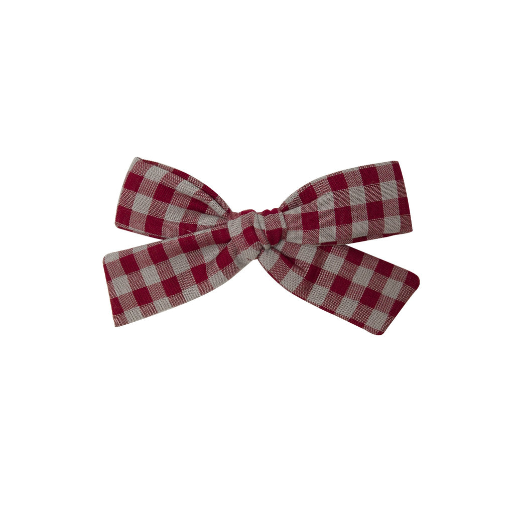 Large Bow - red/gray gingham