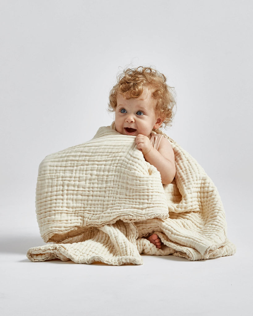 lace baby blanket / full size - ivory<br>Willaby