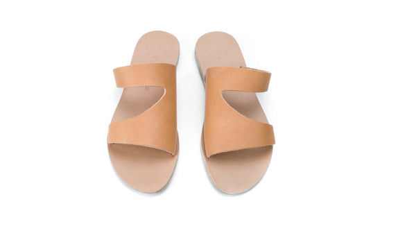 Handmade Leather Sandals -Natural- Lesvos<br> Kyma