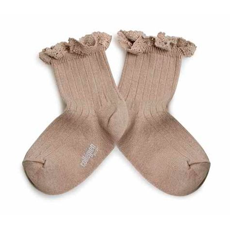 Collegien Lace Trim Ankle Socks - taupe