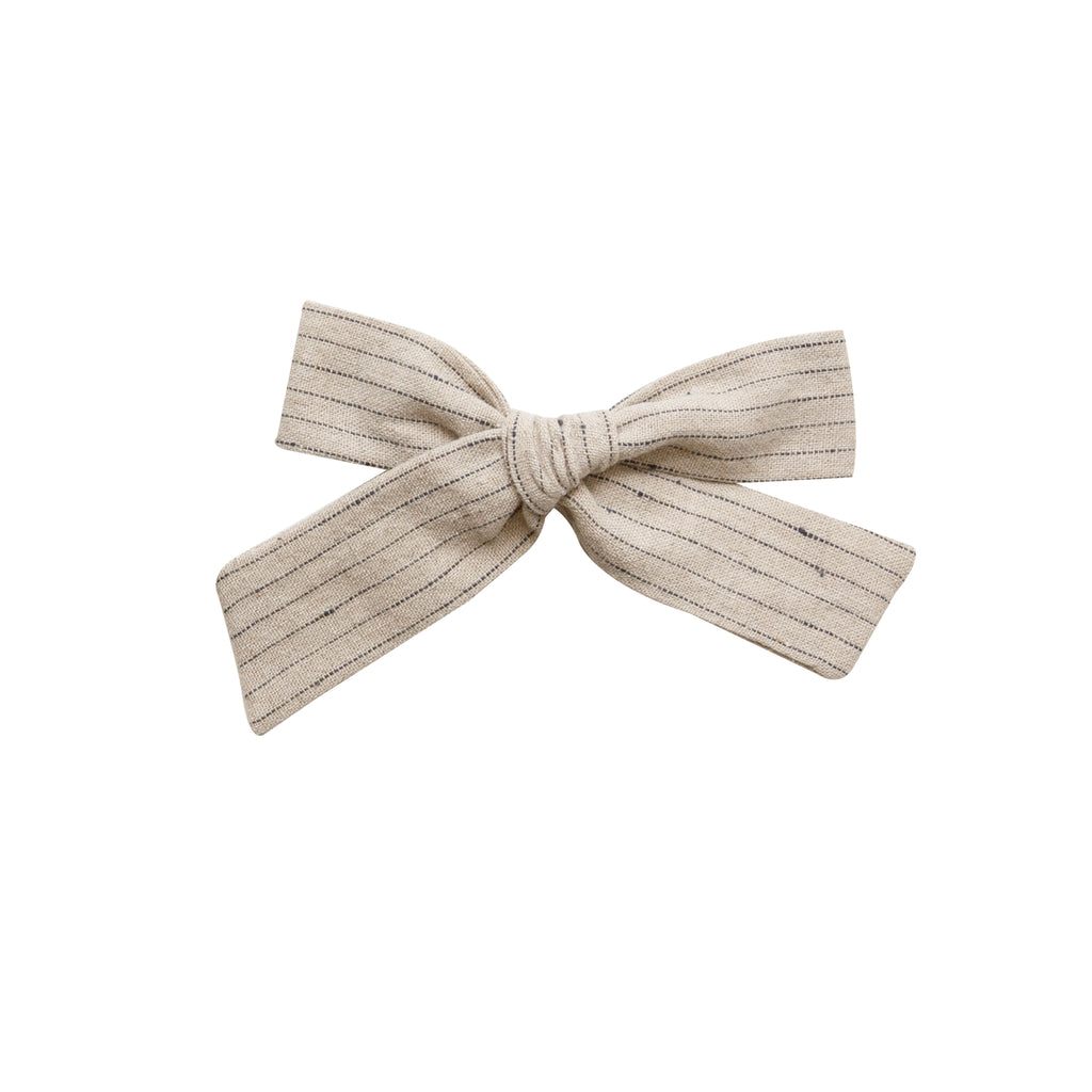 Large Bow - flax with navy stripe