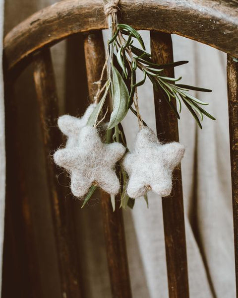 Natural Wool Stars - Handmade