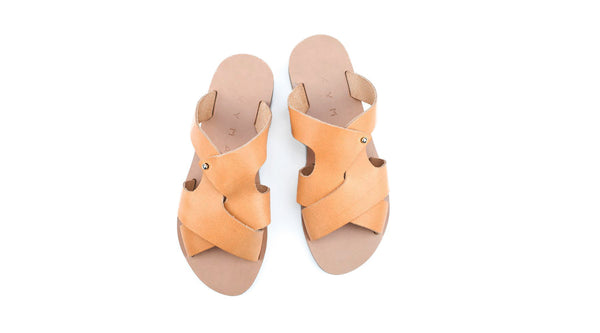 Handmade Leather Sandals -Natural- Pserimos <br> Kyma