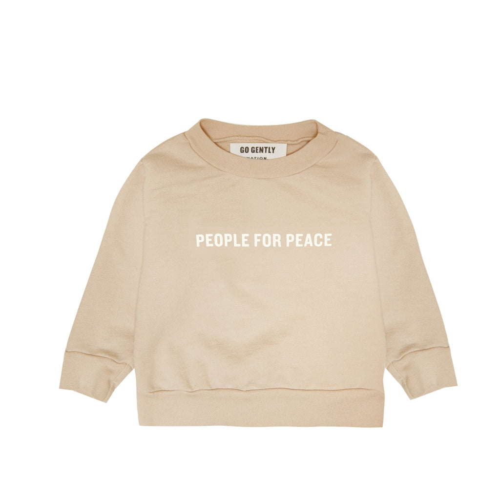 People For Peace Crewneck & French Terry Baby Pant Gift Set - Almond
