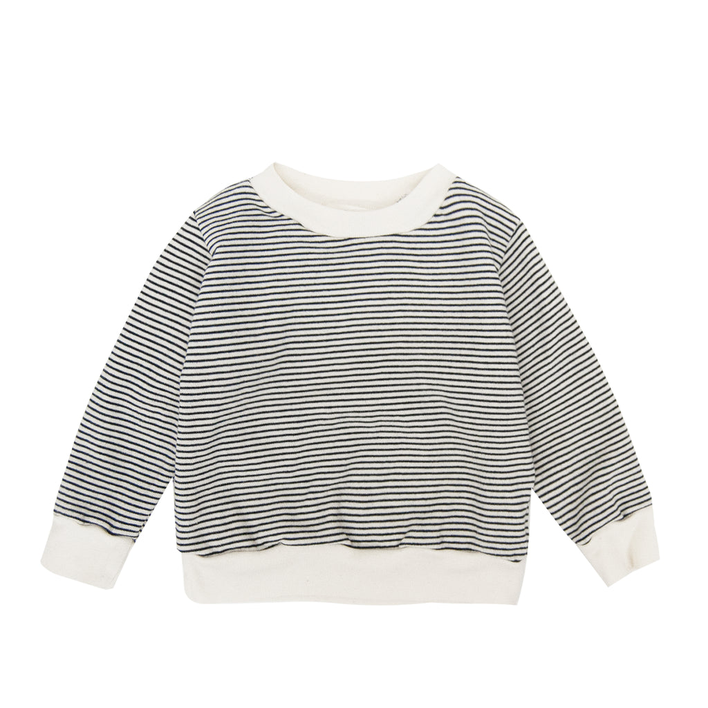 Navy/ Natural Stripe Crewneck