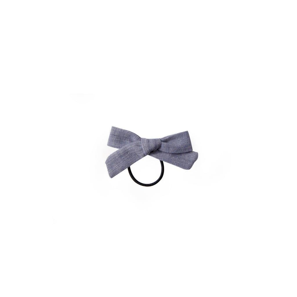 Mini Bow Ponytail - chambray