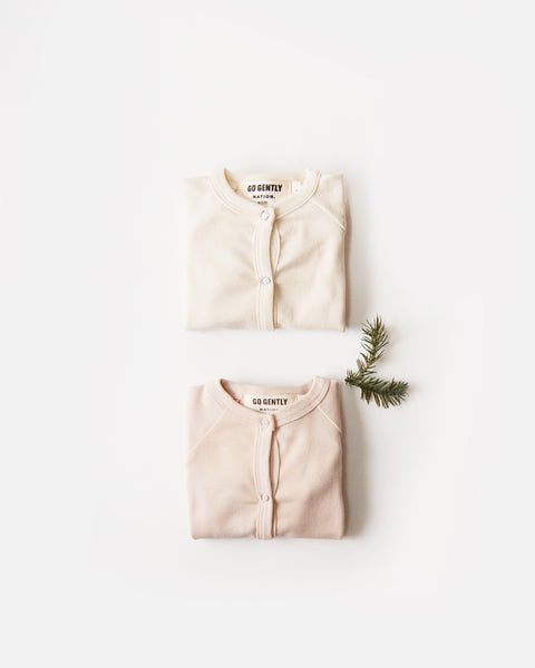 Gift Set - Snap Down Romper Set - Natural & Pink Tint