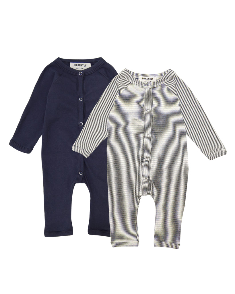 Gift Set - Snap Down Romper Set - Navy & Navy Stripe