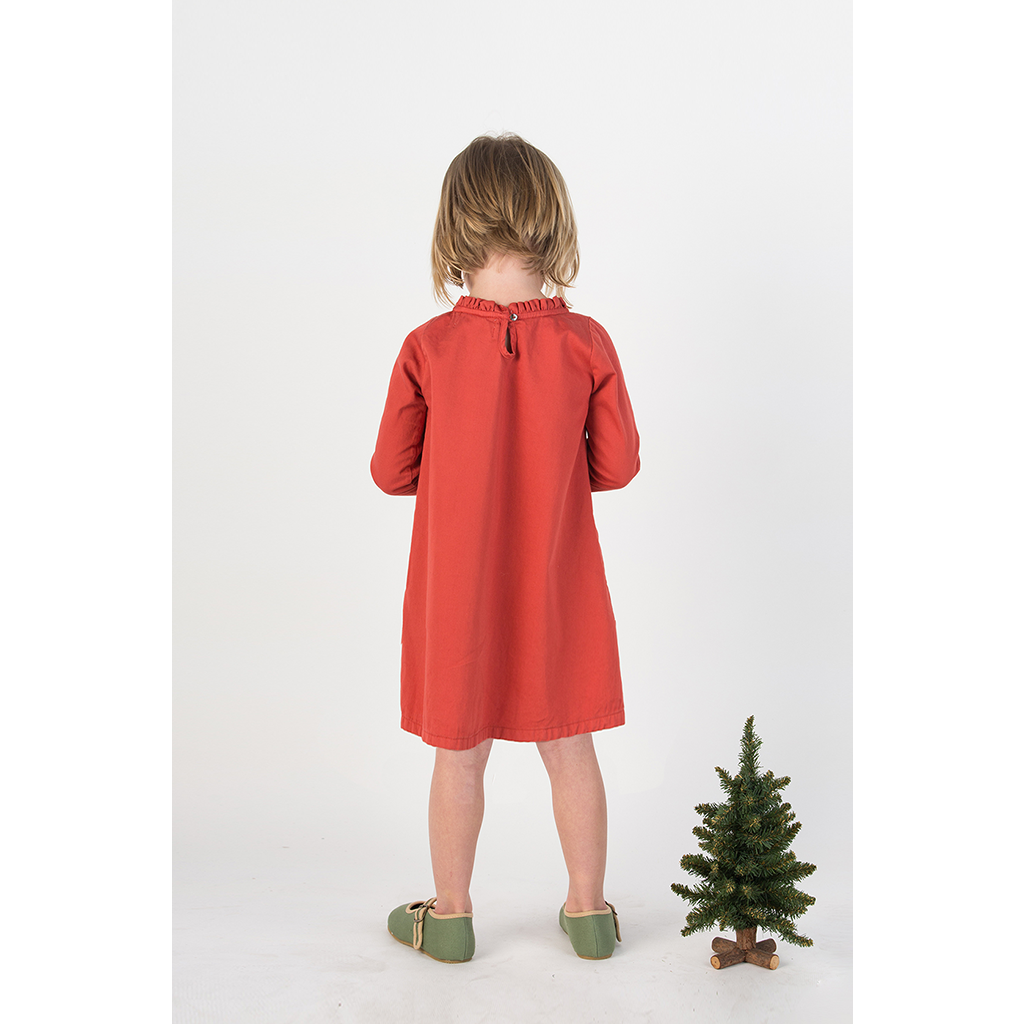Holiday Ruffle Neck Dress