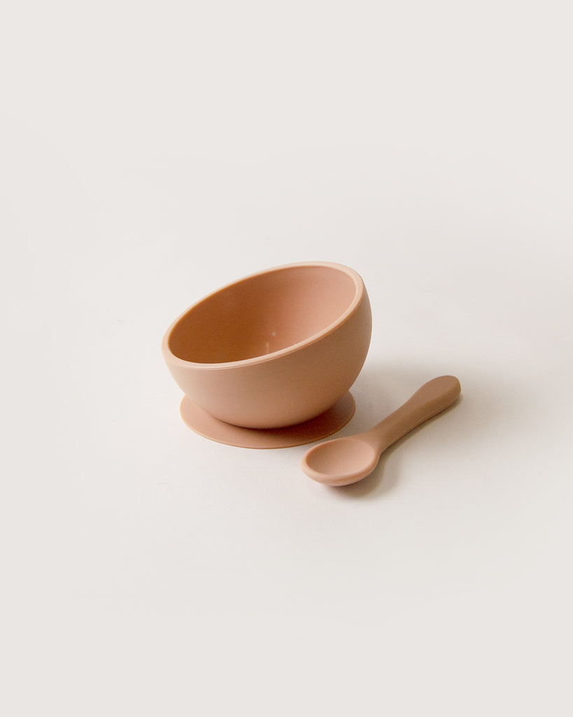 Silicone Suction Bowl and Spoon Set - nude <br>Dove and Dovelet
