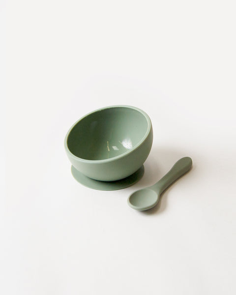 Silicone Suction Bowl and Spoon Set - sage <br>Dove and Dovelet