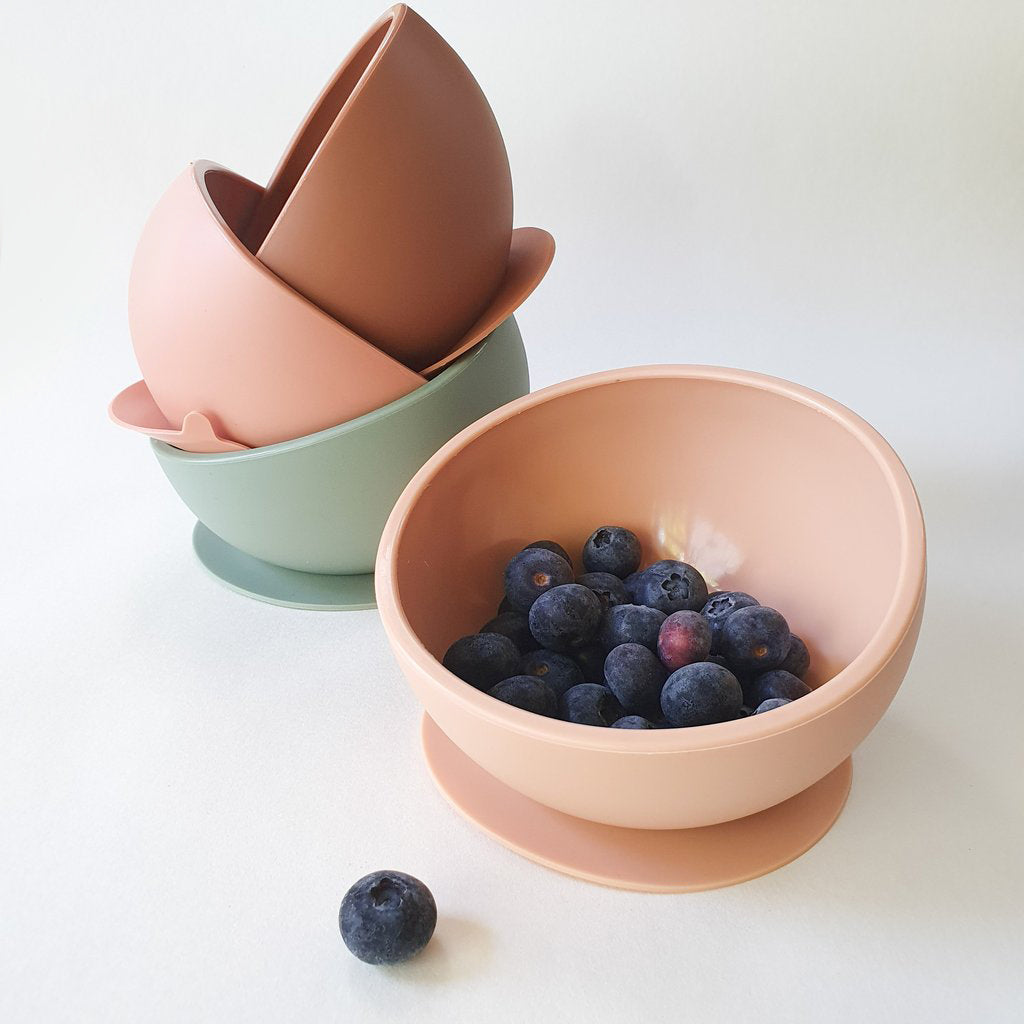 Silicone Suction Bowl and Spoon Set - clay <br>Dove and Dovelet