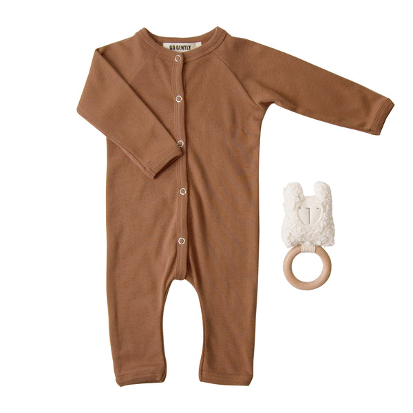 Snap Down Romper + Llama Rattle Set - Clay