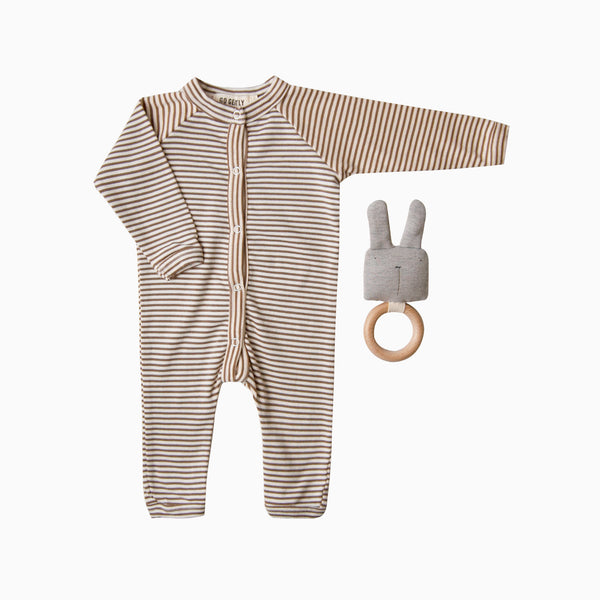Gift Set - Snap Down Romper + Rabbit Rattle