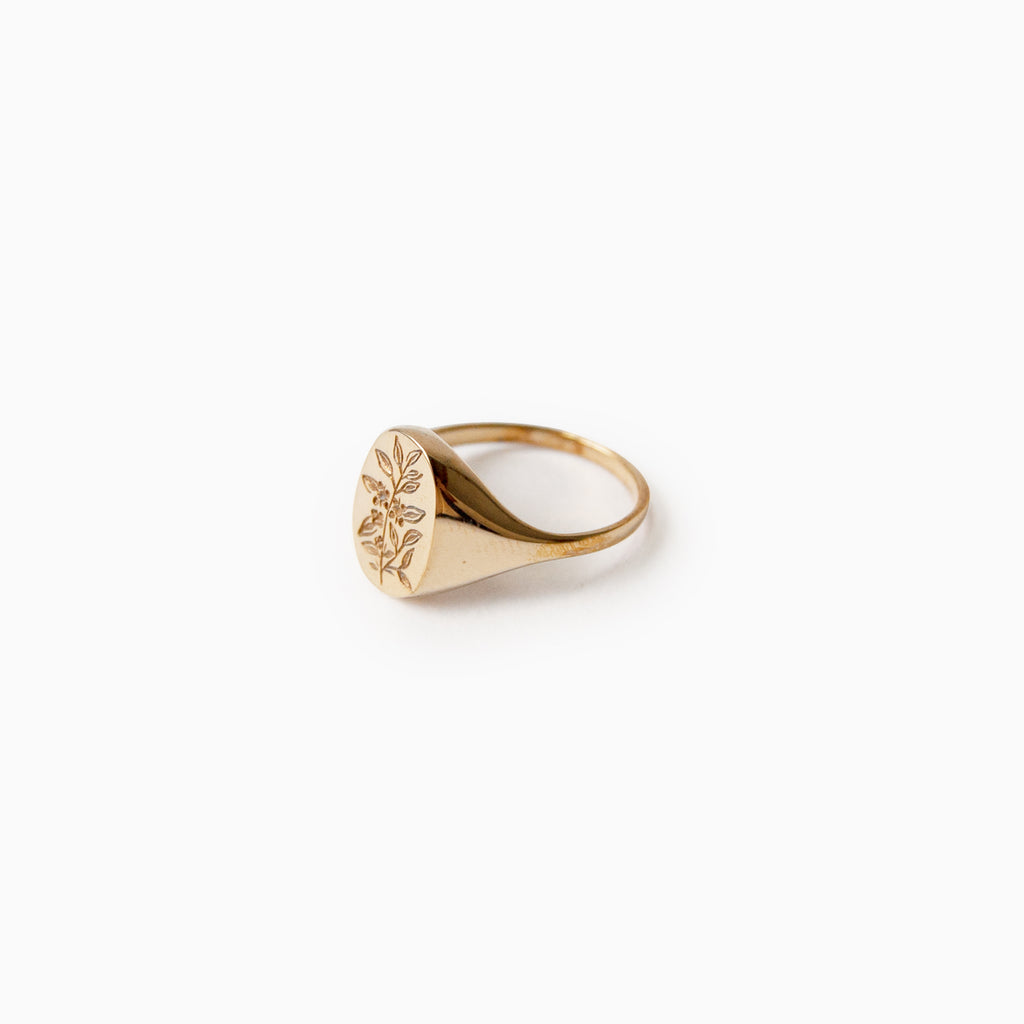 Tea Leaf Signet Ring<br>by Claus