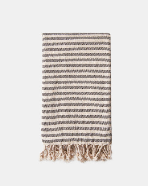 Organic Turkish Towel - black stripe
