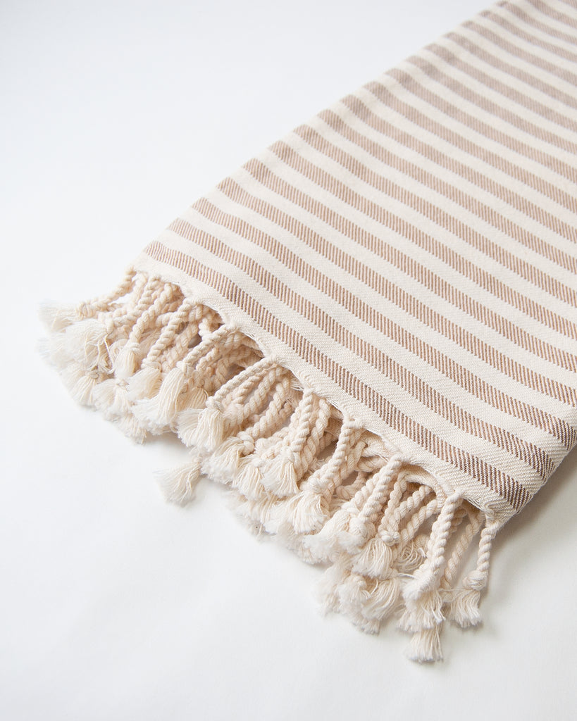 Organic Turkish Throw - mocha stripe