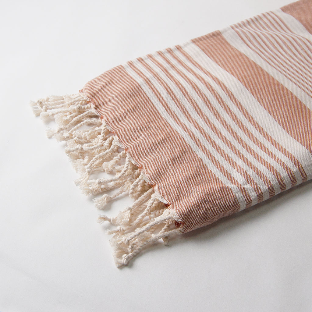 Organic Turkish Throw blanket - Rust with natural stripe