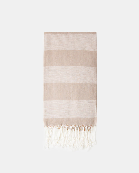 Organic Turkish Throw - tan & natural stripe