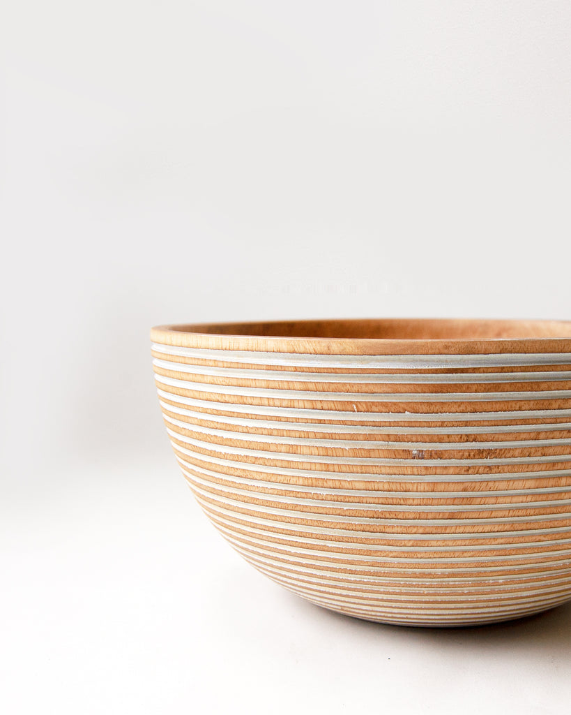 White Striped Mango Wood Bowl - Large