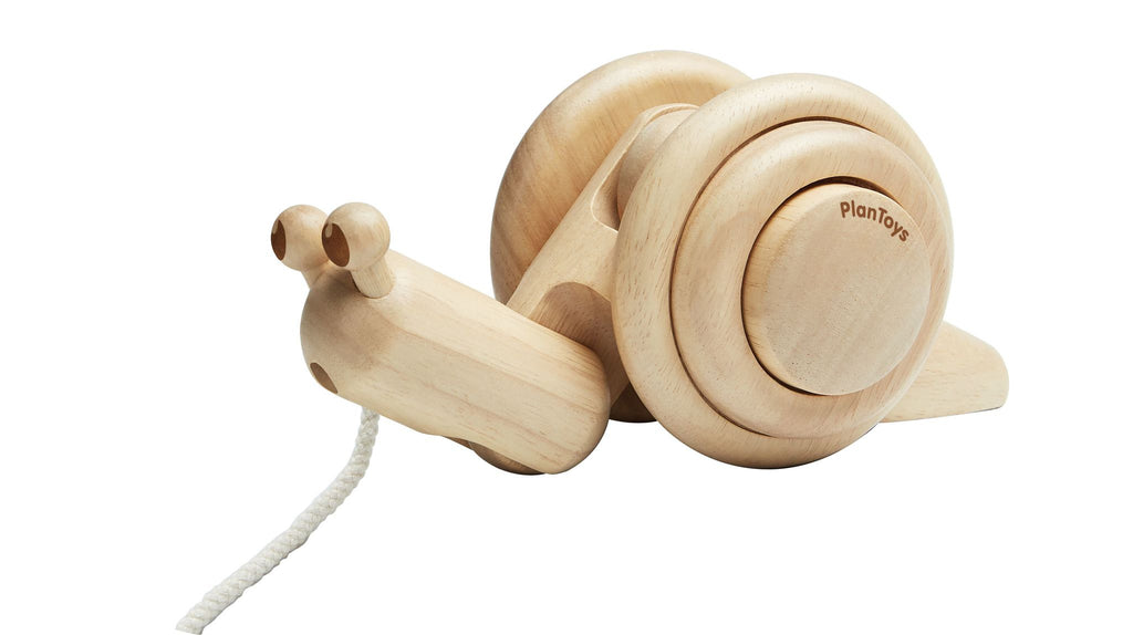 Plan Toys Pull-Along Snail - Natural <br> PlanToys