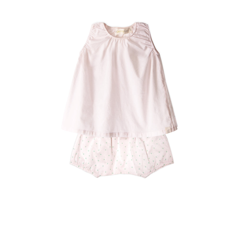 Baby Set - Solid pink tank + baby short