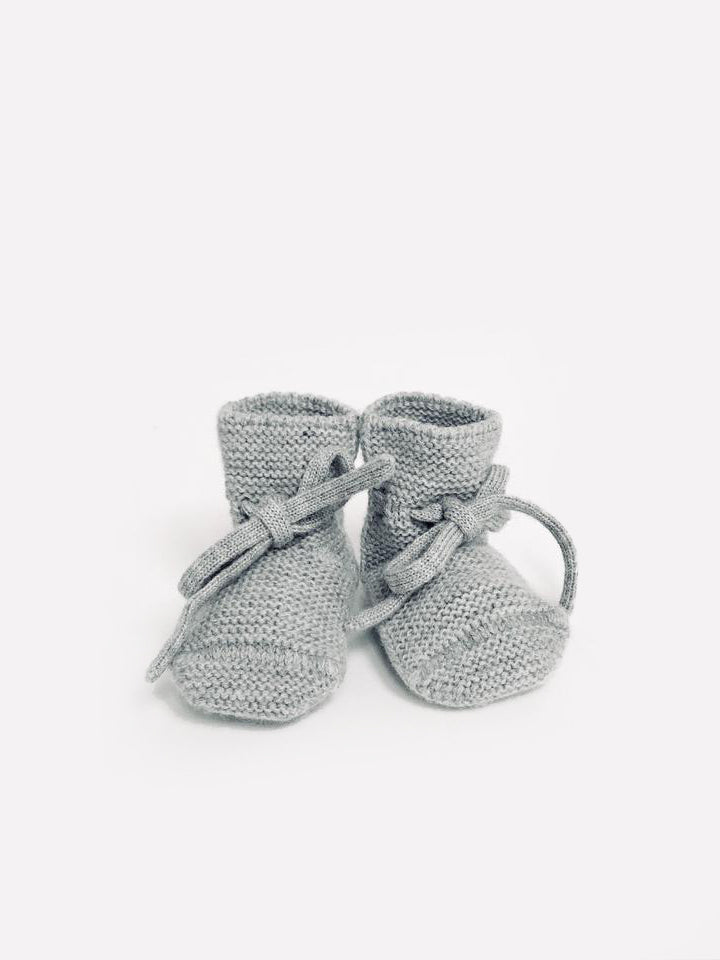 Knit Booties - heather gray <br>hvid