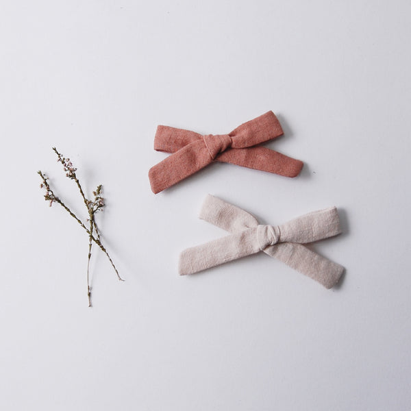 Linen Bow Set - Dusty Rose & Natural