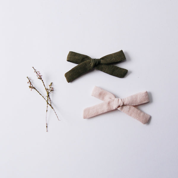 Linen Bow Set - Forest Green & Natural