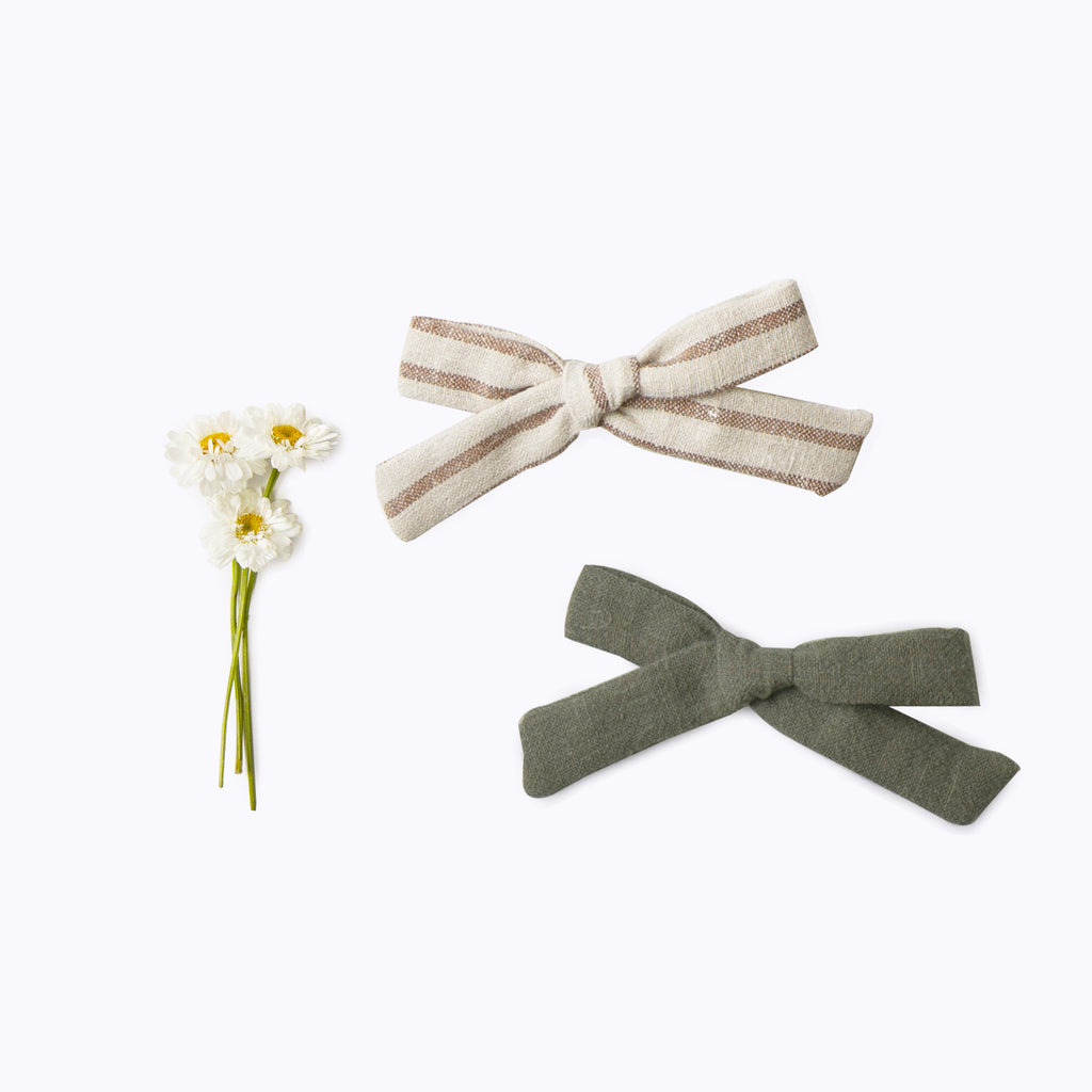 Mini Bow Set - hazelnut stripe & thyme