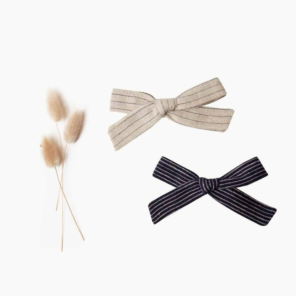 Mini Bow Set - flax stripe & navy pinstripe