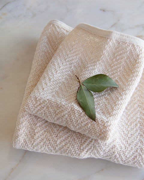 Herringbone Cotton Towel-wash cloth<br>Fog Linen