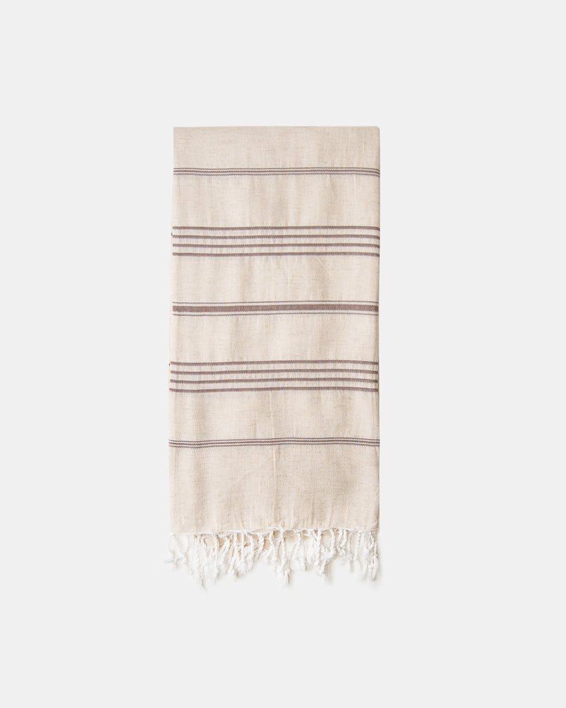 Organic Turkish Throw - cocoa stripe
