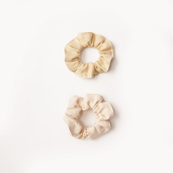 Kids Scrunchie Set- natural & gold shimmer