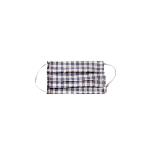 Kids Cloth Face Mask - double layer - blue gingham