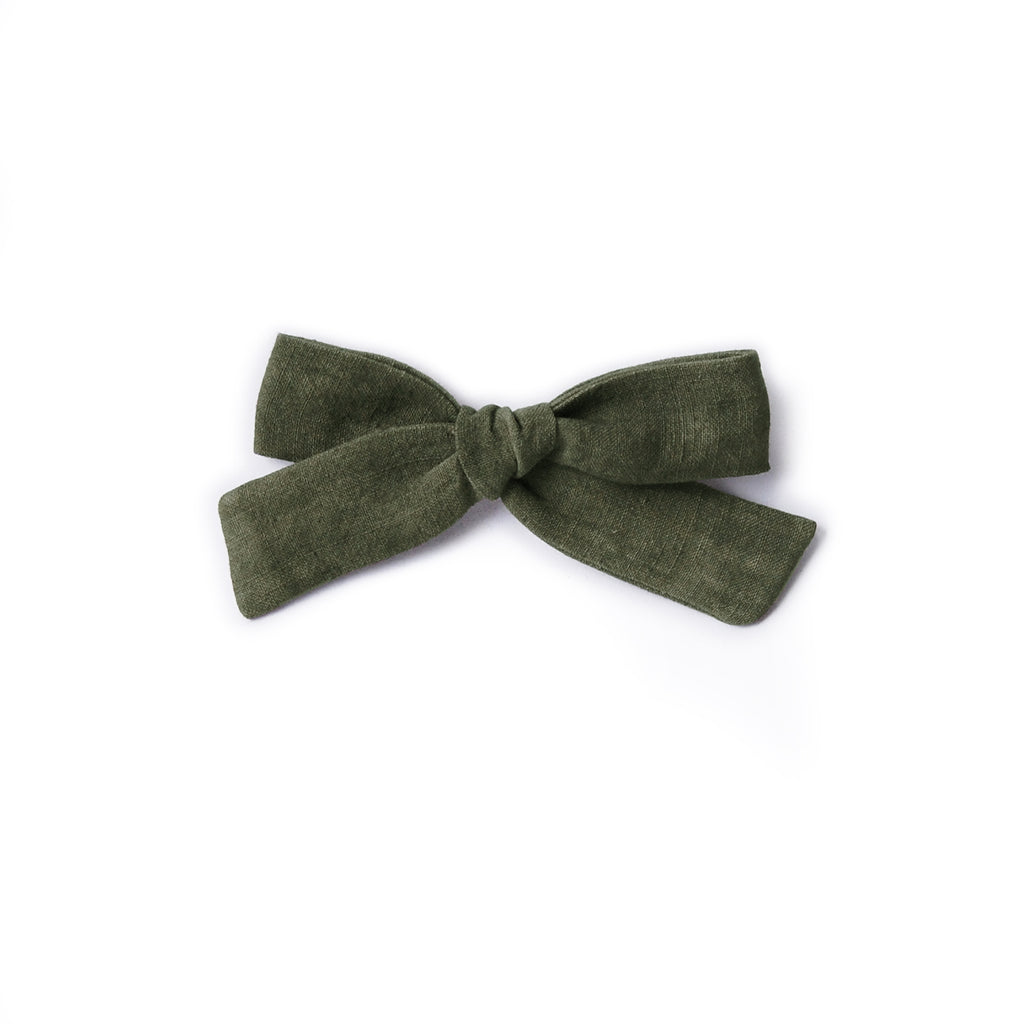 Linen Bow - Forest Green