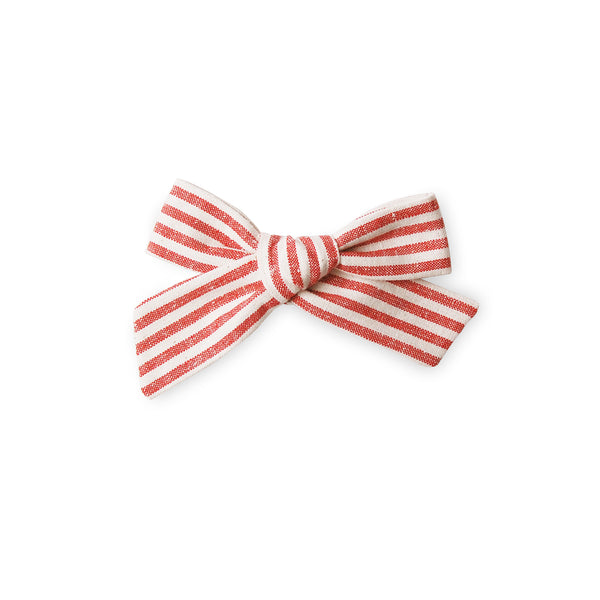 Linen Bow - Red Stripe