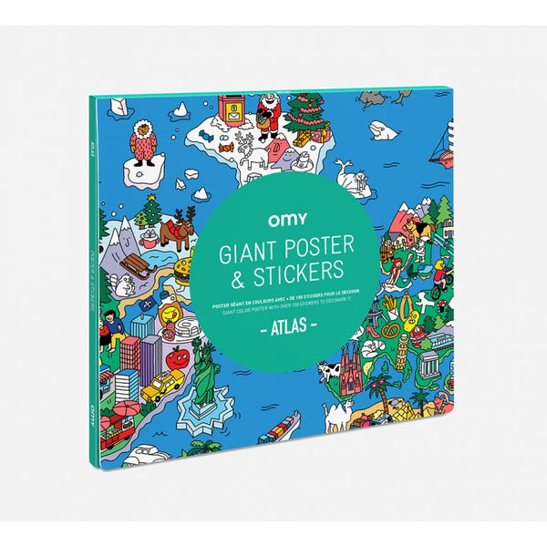 Giant poster & stickers - Atlas<br> OMY