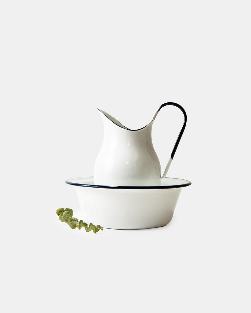 Enamel Pitcher + Bowl Set