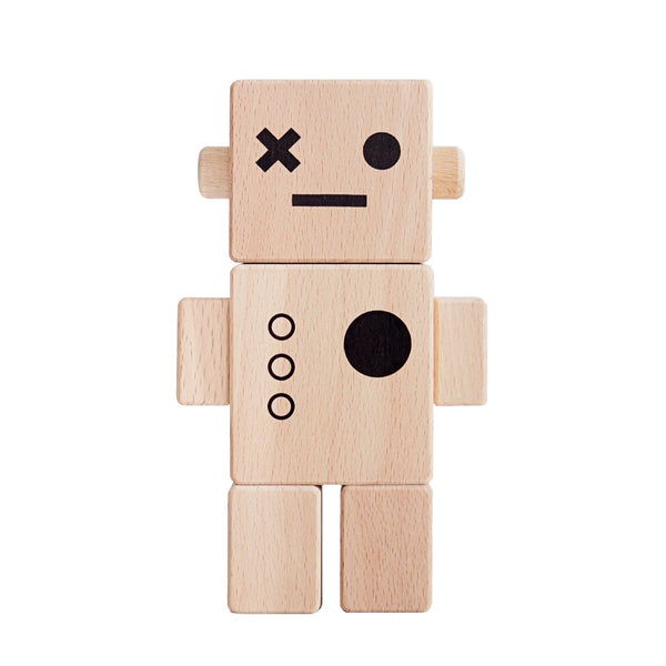 Wooden Baby Robot - Natural <br>Briki Vroom Vroom