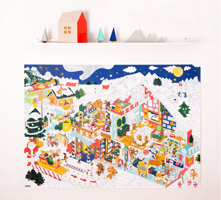 Giant Coloring Poster - Christmas Factory <br> OMY