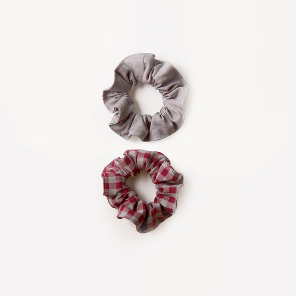 Scrunchie Set- red gingham & gray chambray
