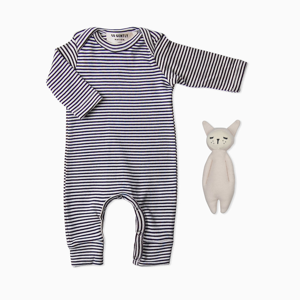 Gift Set - Stripe Romper + Soft Rattle Bunny