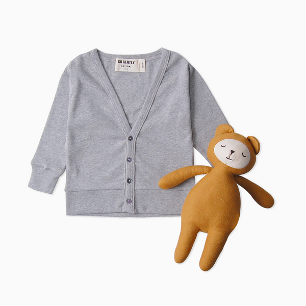 Rib Cardigan + Buddy Bear