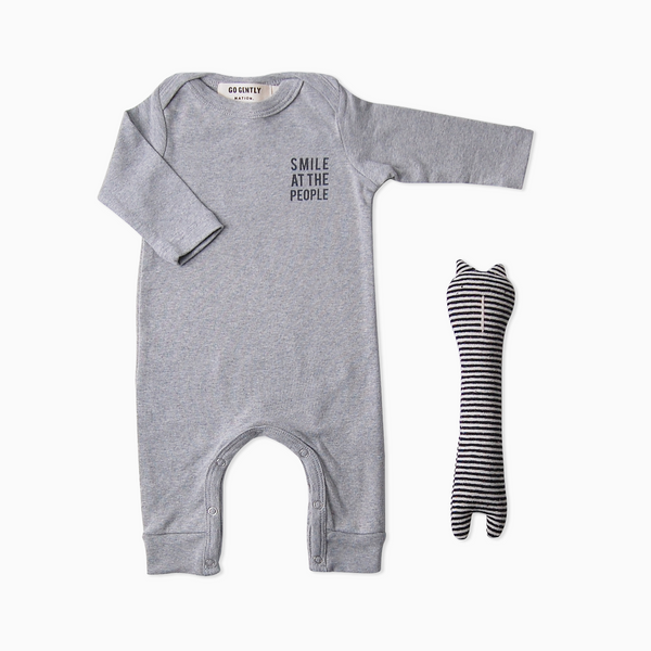 Smile At The People Romper + Cat Rattle