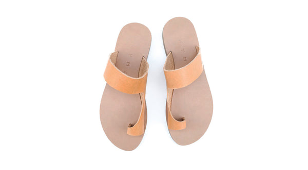 Handmade Leather Sandals -Natural- Leipsoi <br> Kyma