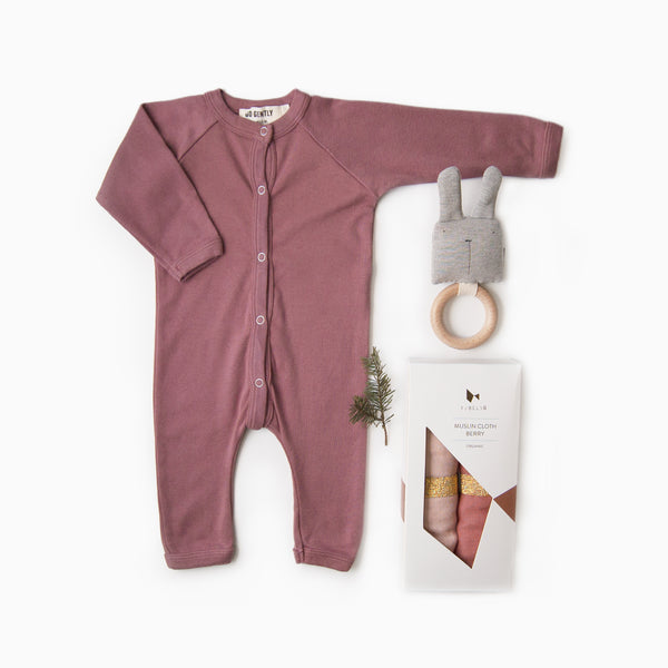 Gift Set - Solid Berry Romper + Bunny Rattle + Muslin Cloth