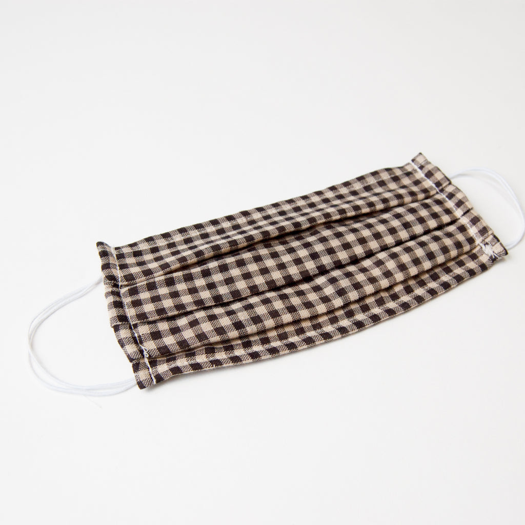 Adult Cloth Face Mask - single layer - tan gingham