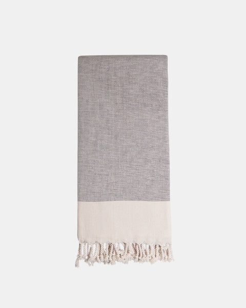 Organic Turkish Throw -brown with ivory