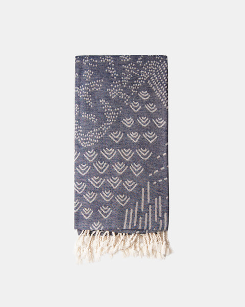 Organic Turkish Throw blanket - Navy print